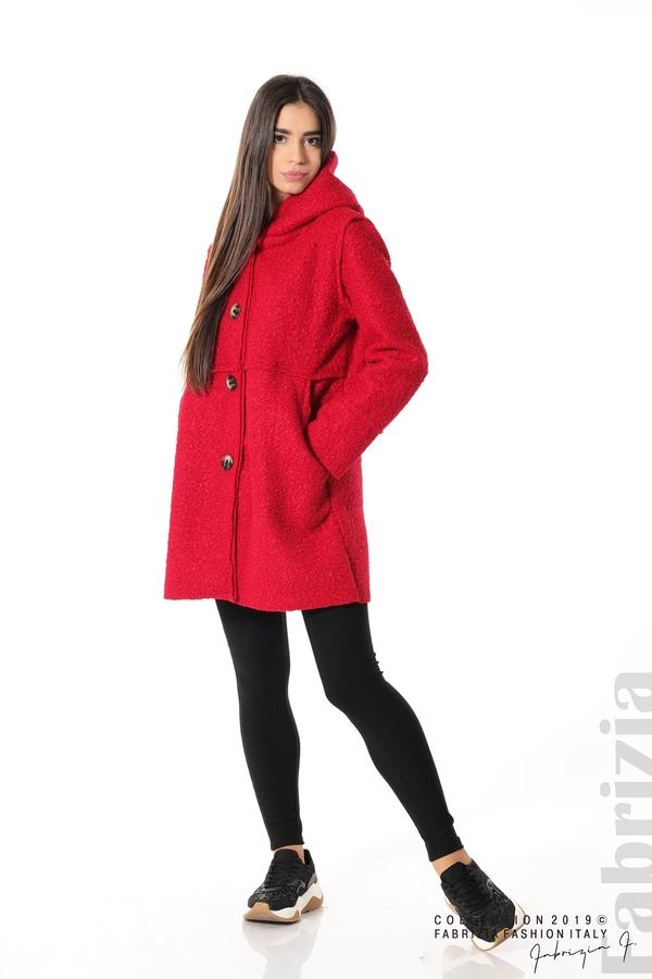 Стилно палто с качулка червен 3 fabrizia