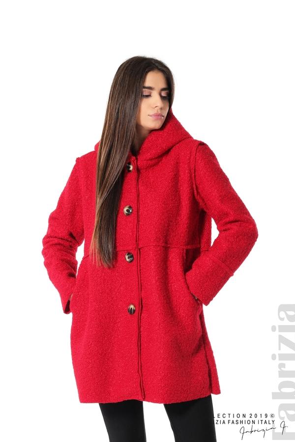 Стилно палто с качулка червен 1 fabrizia