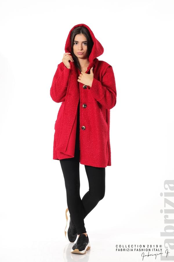 Стилно палто с качулка червен 2  fabrizia
