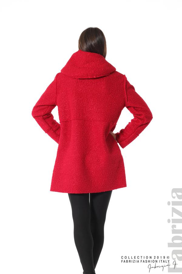 Стилно палто с качулка червен 5 fabrizia