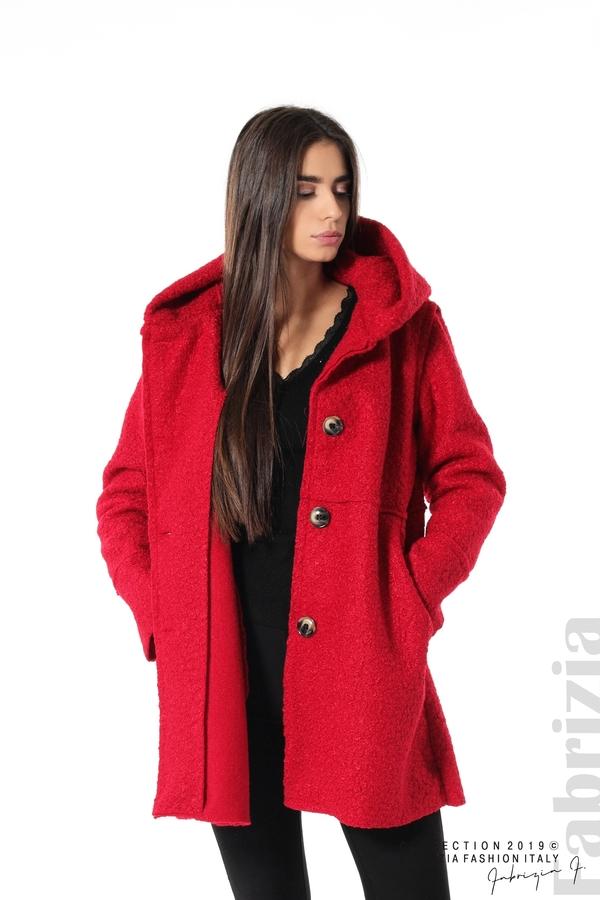 Стилно палто с качулка червен 4  fabrizia
