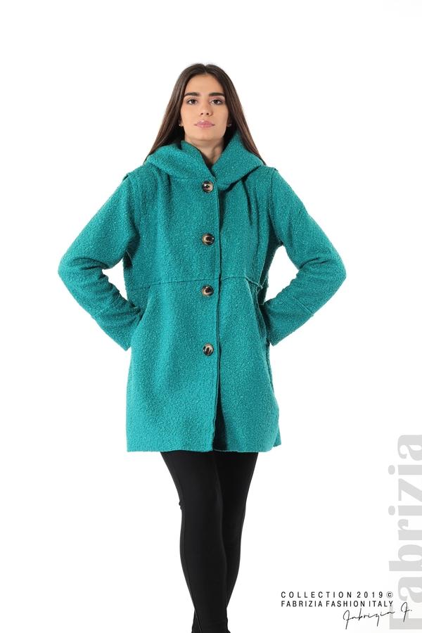 Стилно палто с качулка зелен 3 fabrizia