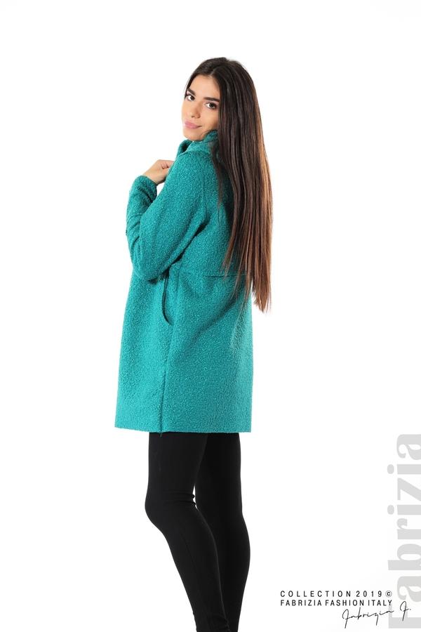 Стилно палто с качулка зелен 2 fabrizia