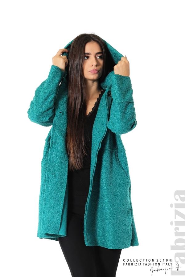 Стилно палто с качулка зелен 4 fabrizia
