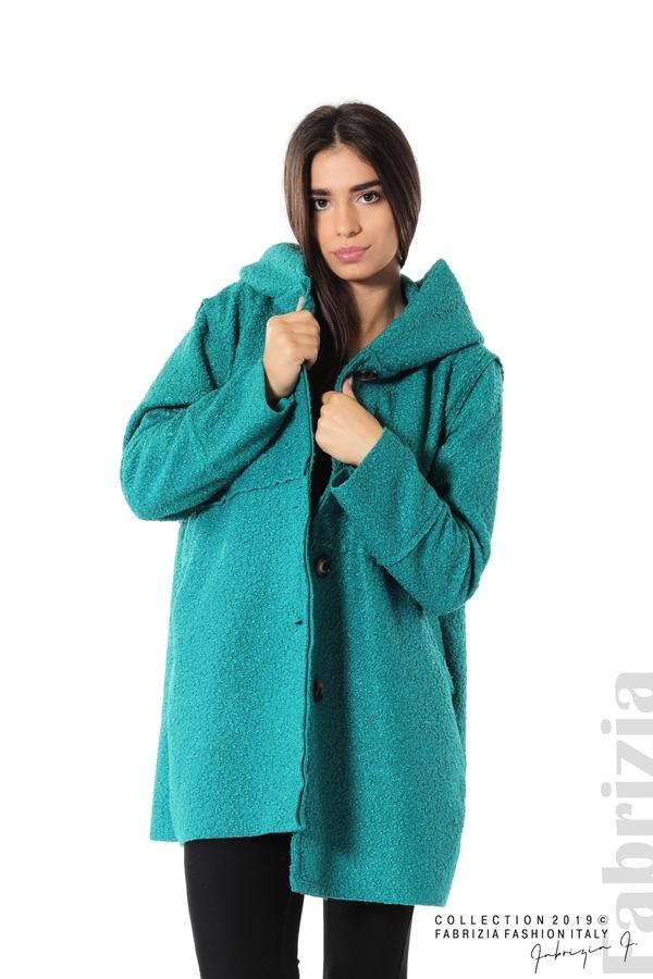 Стилно палто с качулка зелен 1 fabrizia