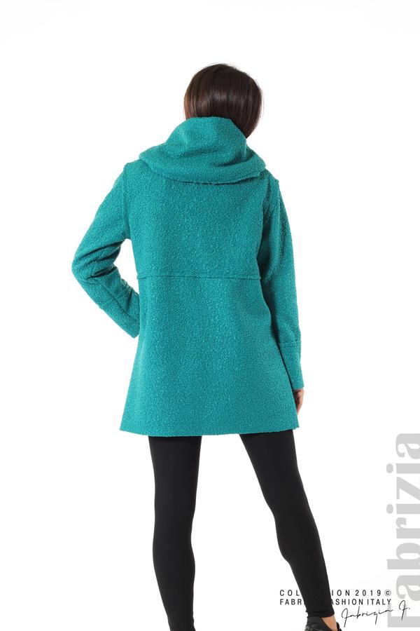 Стилно палто с качулка зелен 5 fabrizia