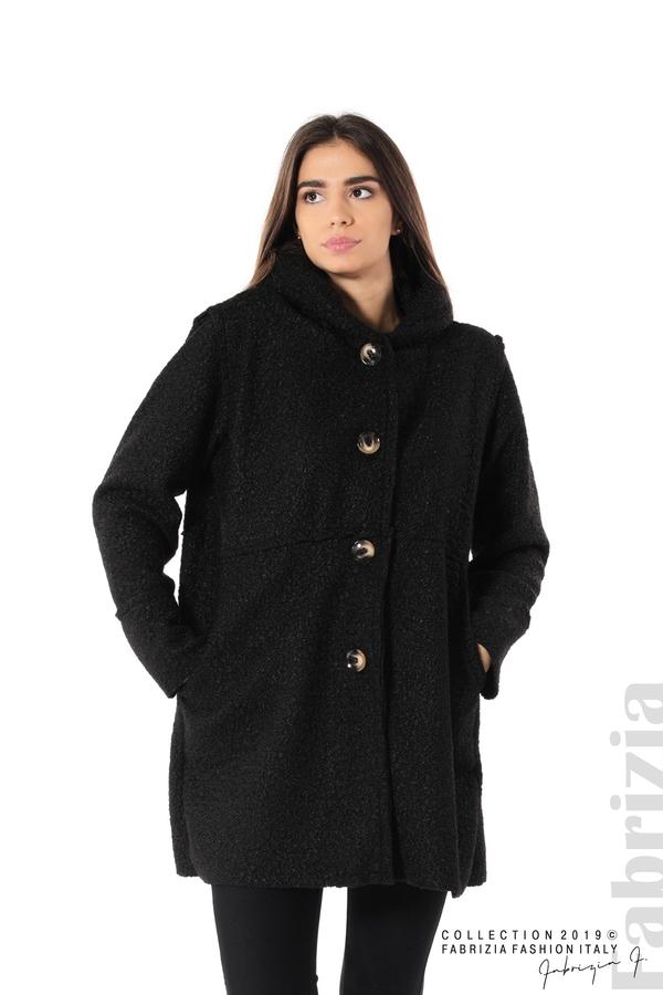 Стилно палто с качулка черен 1 fabrizia
