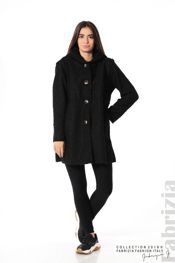 Стилно палто с качулка черен 3 fabrizia
