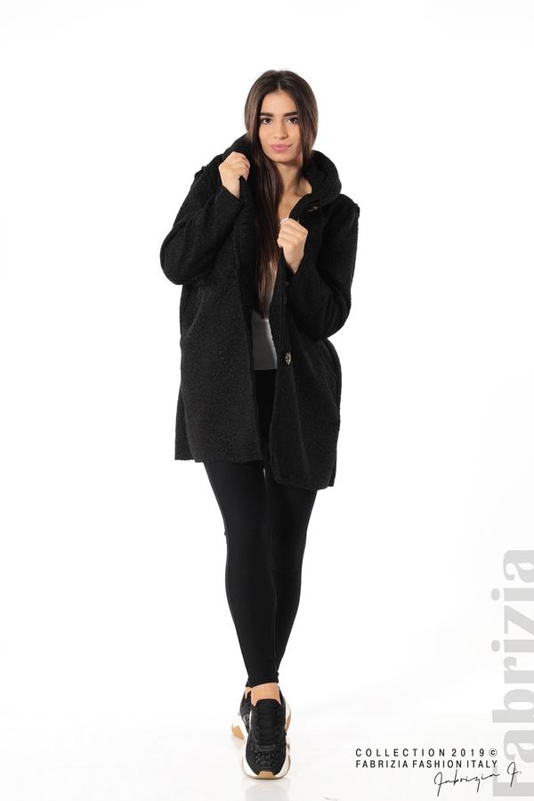Стилно палто с качулка черен 2 fabrizia