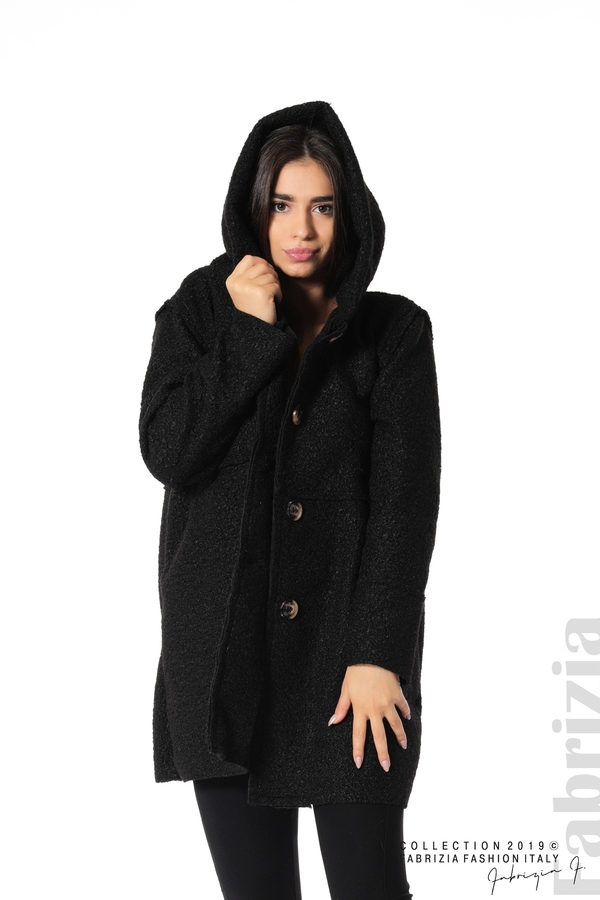 Стилно палто с качулка черен 4 fabrizia