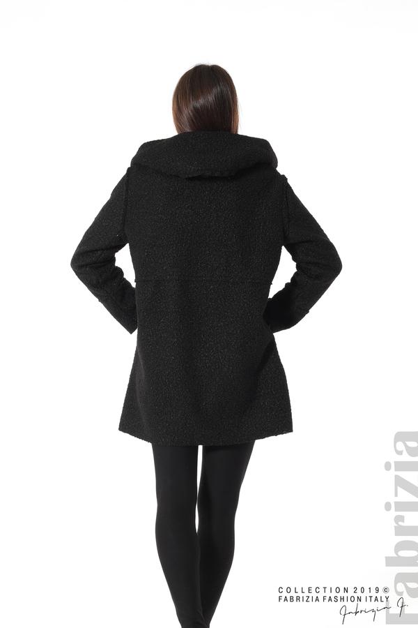 Стилно палто с качулка черен 5 fabrizia