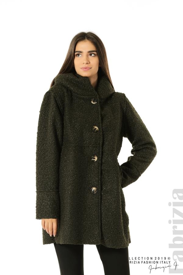 Стилно палто с качулка каки 1 fabrizia