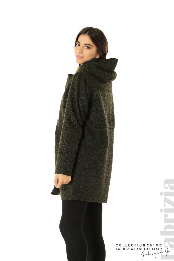 Стилно палто с качулка каки 3 fabrizia