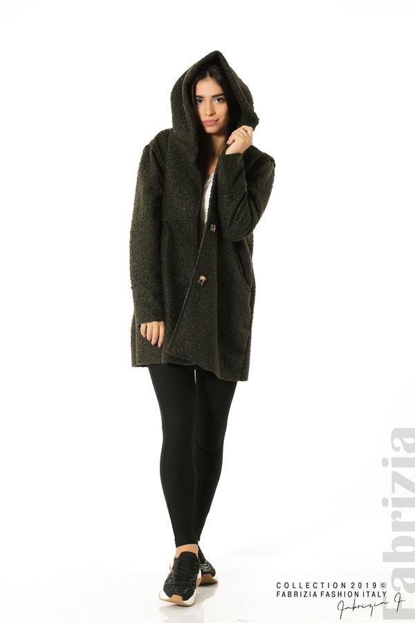 Стилно палто с качулка каки 4 fabrizia