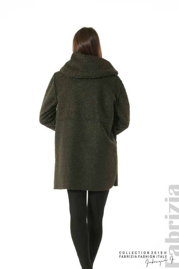 Стилно палто с качулка каки 5 fabrizia