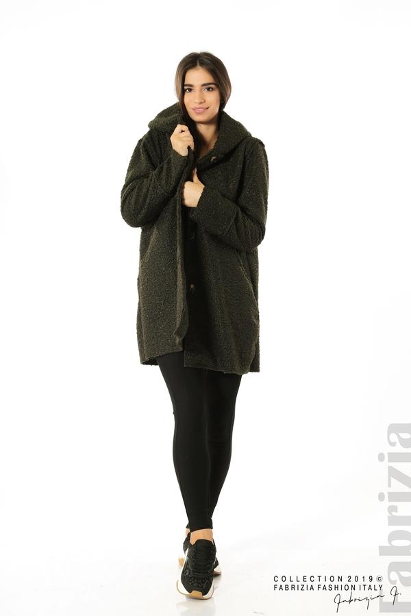 Стилно палто с качулка каки 2 fabrizia
