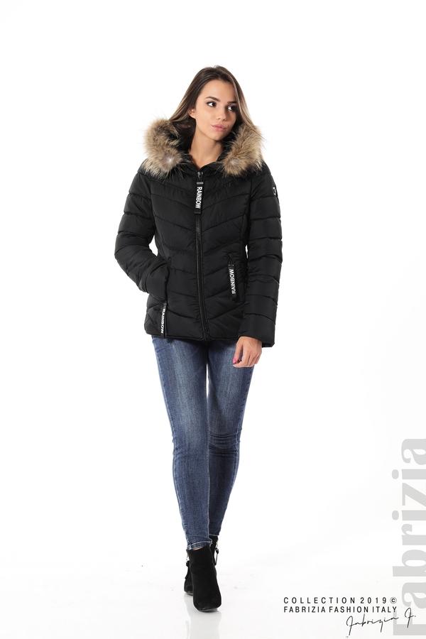 Дамско яке с качулка с естествен пух-черен-2-Fabrizia