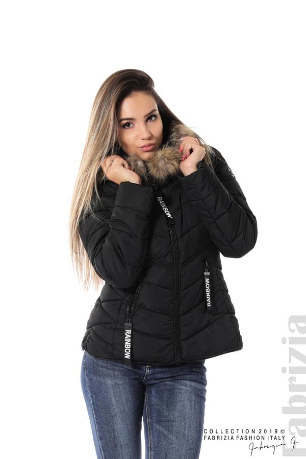 Дамско яке с качулка с естествен пух-черен-1-Fabrizia