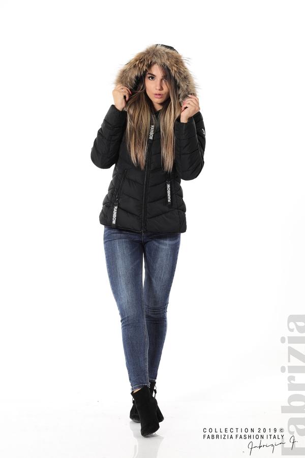 Дамско яке с качулка с естествен пух-черен-3-Fabrizia