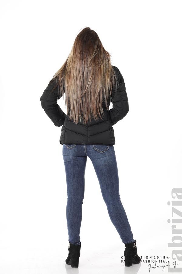 Дамско яке с качулка с естествен пух-черен-4-Fabrizia