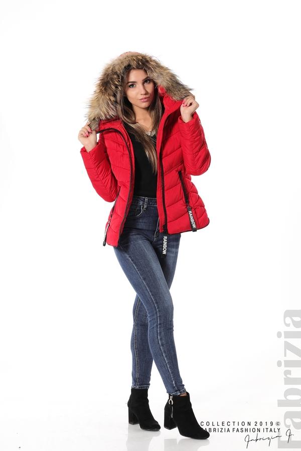 Дамско яке с качулка с естествен пух-червен-2-Fabrizia