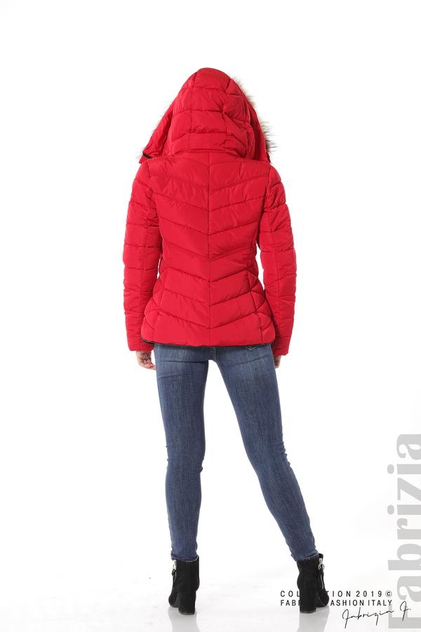 Дамско яке с качулка с естествен пух-червен-4-Fabrizia