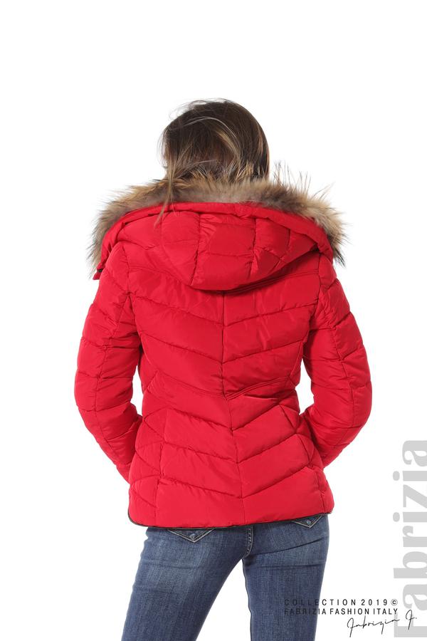 Дамско яке с качулка с естествен пух-червен-5-Fabrizia