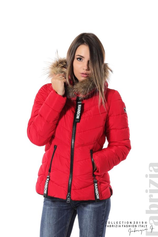 Дамско яке с качулка с естествен пух-червен-1-Fabrizia