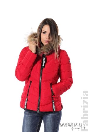 Дамско яке с качулка с естествен пух