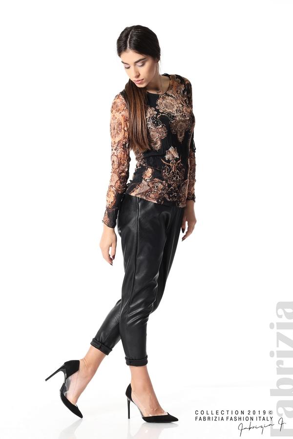 Блуза от тюл с ефектен принт черен 2 fabrizia
