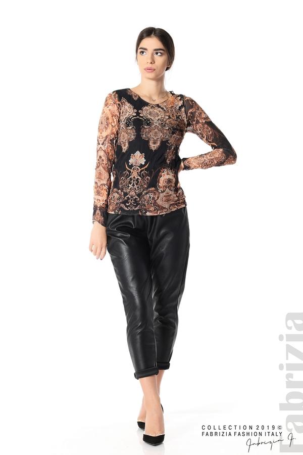 Блуза от тюл с ефектен принт черен 3 fabrizia