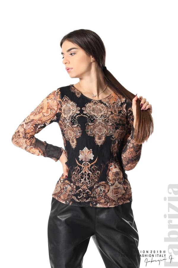 Блуза от тюл с ефектен принт черен 1 fabrizia