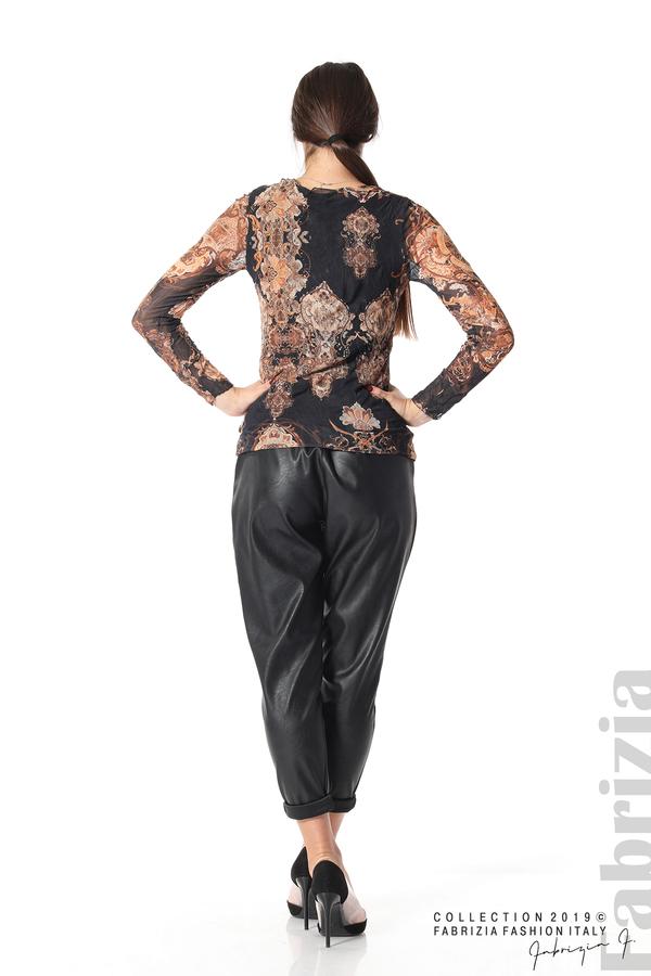 Блуза от тюл с ефектен принт черен 4 fabrizia