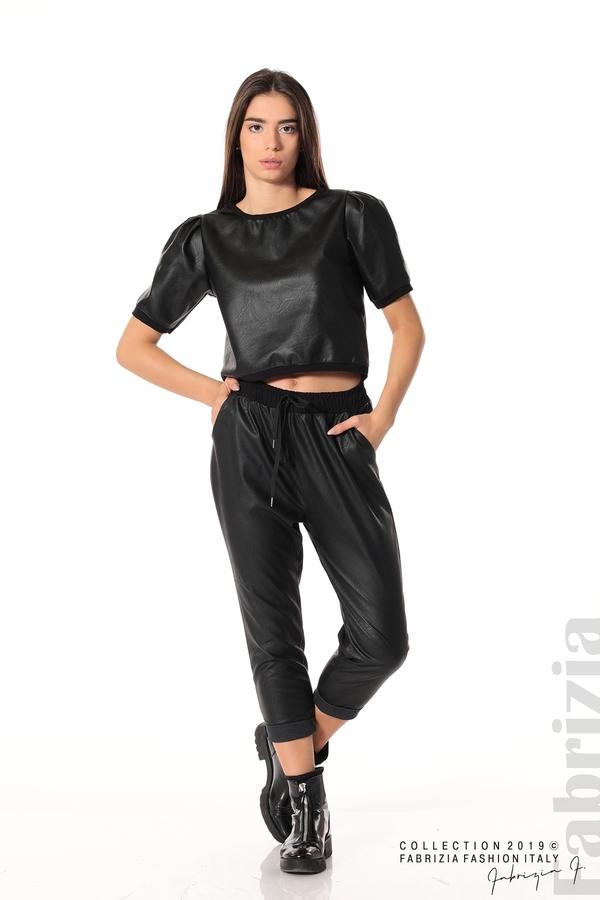 Къса кожена блуза черен 2 fabrizia