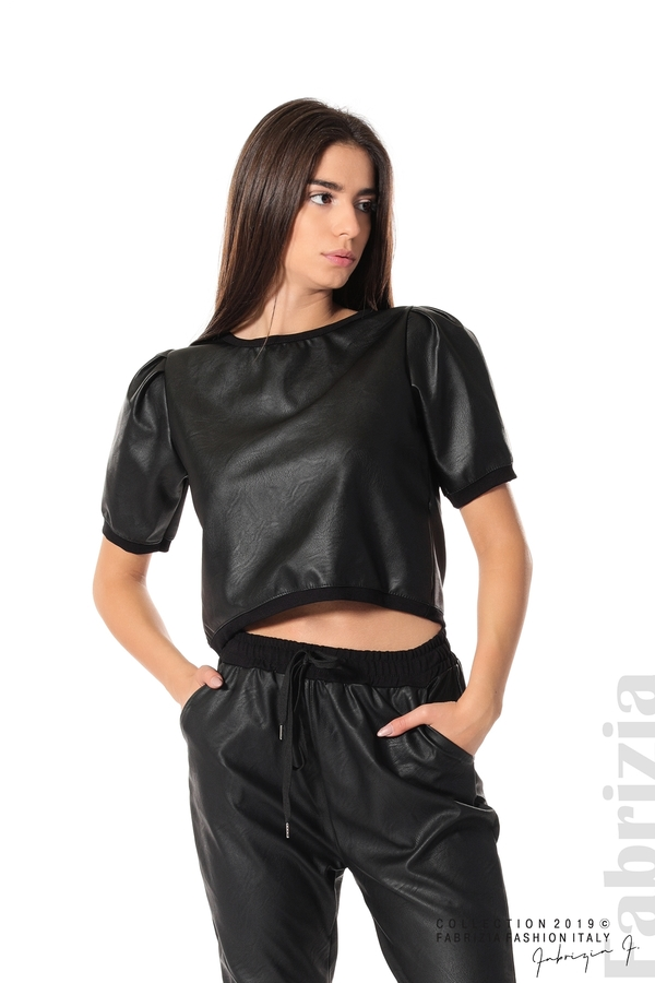 Къса кожена блуза черен 1 fabrizia
