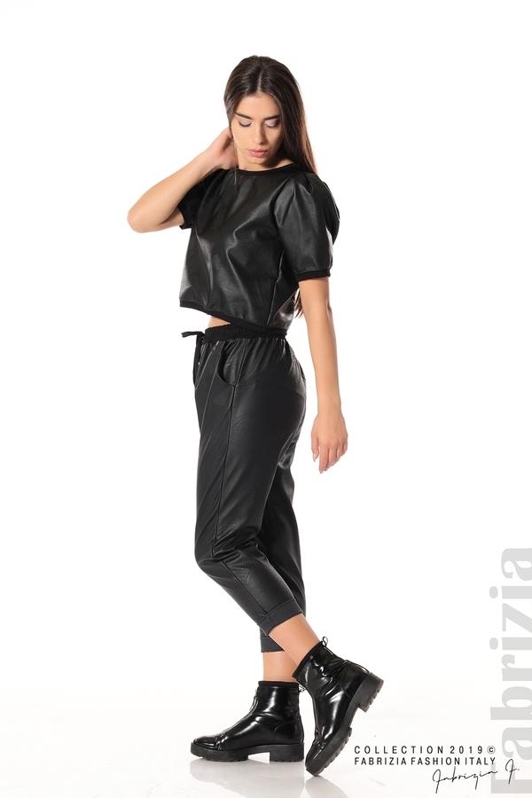 Къса кожена блуза черен 3 fabrizia