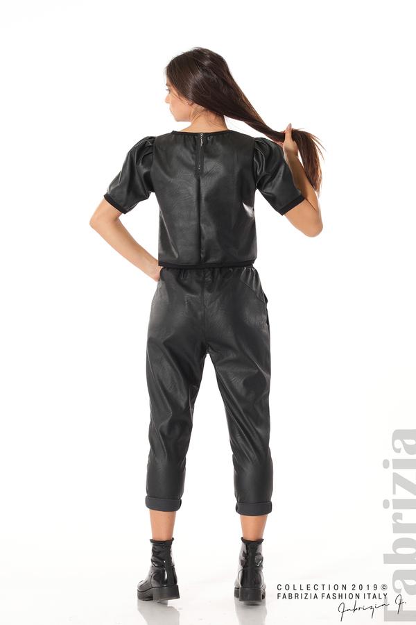 Къса кожена блуза черен 4 fabrizia