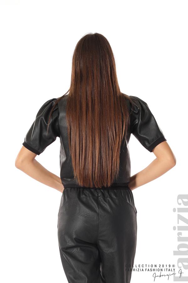 Къса кожена блуза черен 5 fabrizia