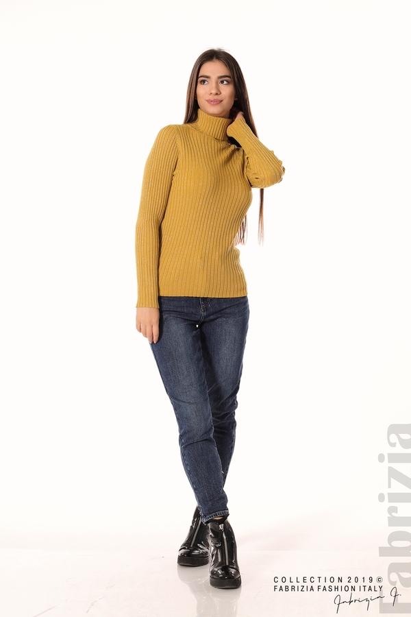 Дамско поло с ламе горчица 3 fabrizia
