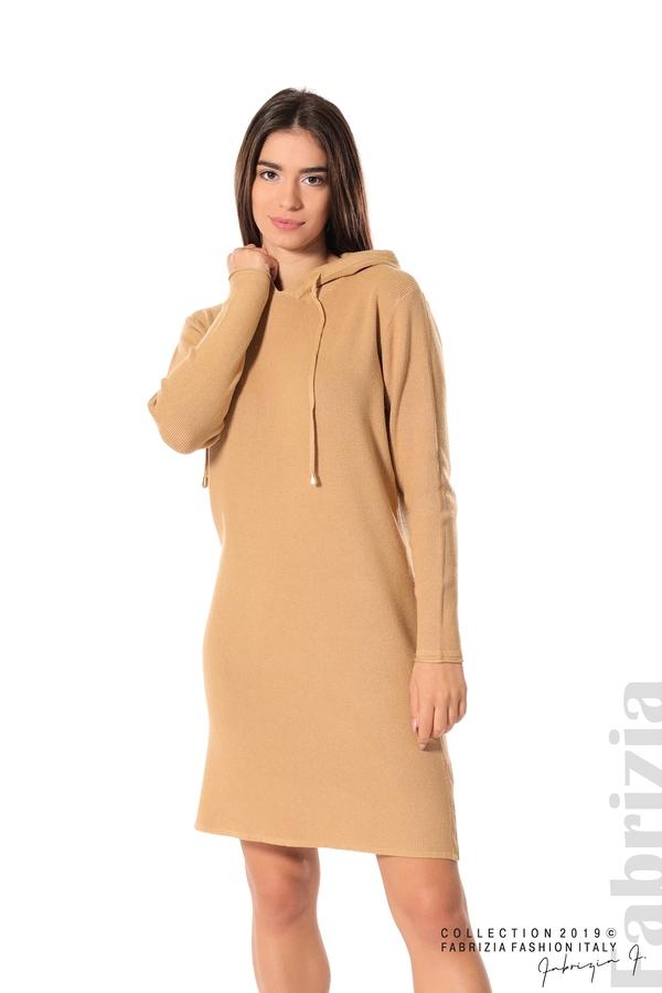 Дамска рокля от фино плетиво св.кафяв 3 fabrizia