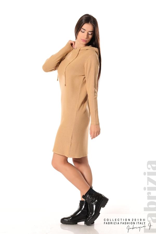 Дамска рокля от фино плетиво св.кафяв 2 fabrizia