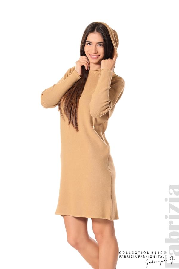 Дамска рокля от фино плетиво св.кафяв 1 fabrizia