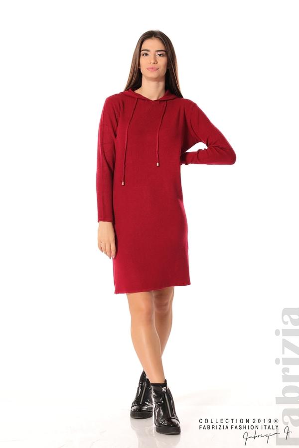 Дамска рокля от фино плетиво т.червен 3 fabrizia