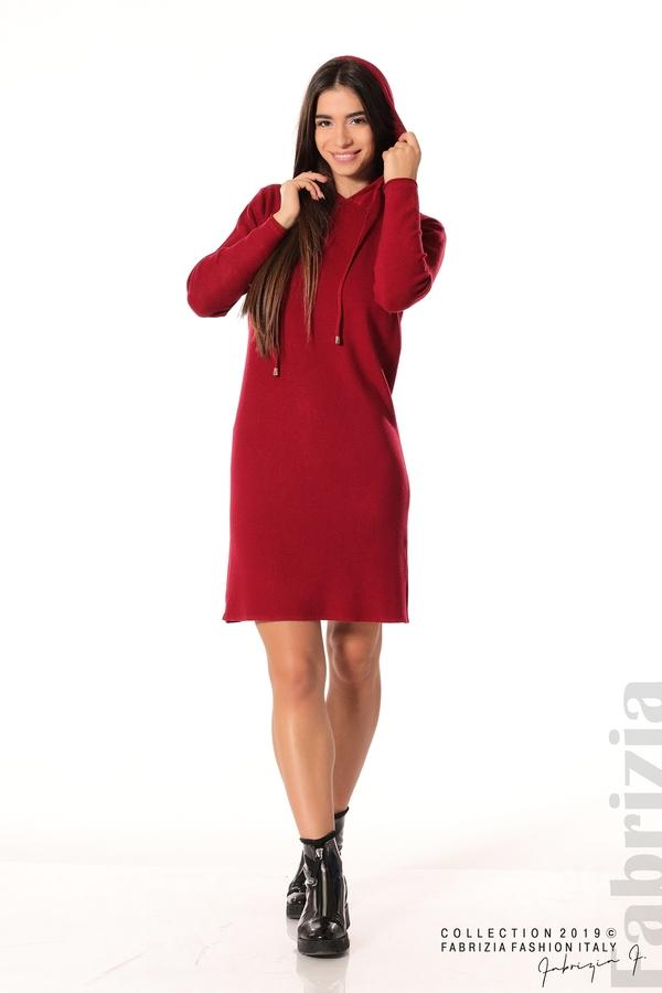 Дамска рокля от фино плетиво т.червен 2 fabrizia