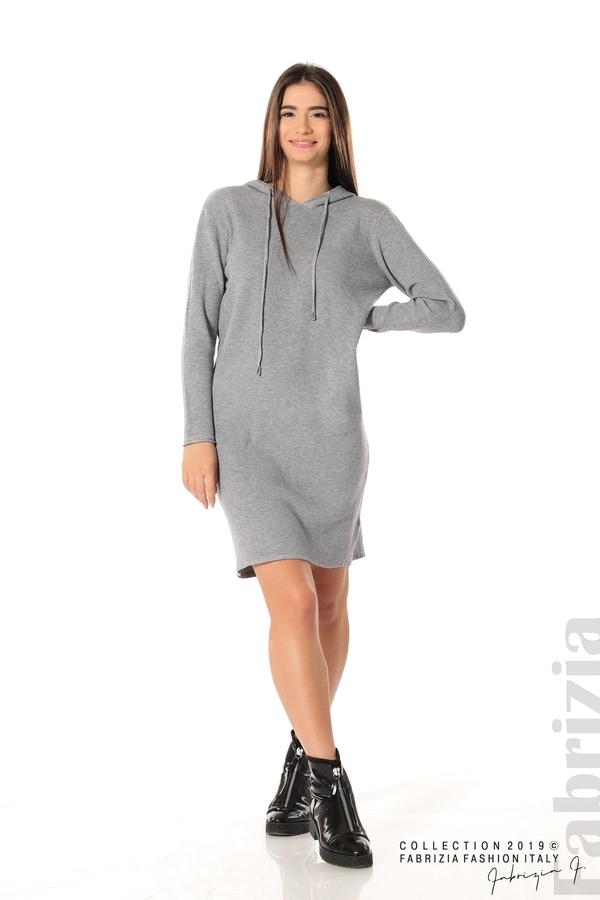 Дамска рокля от фино плетиво сив 2 fabrizia