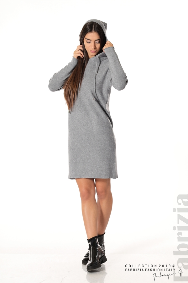 Дамска рокля от фино плетиво сив 4 fabrizia
