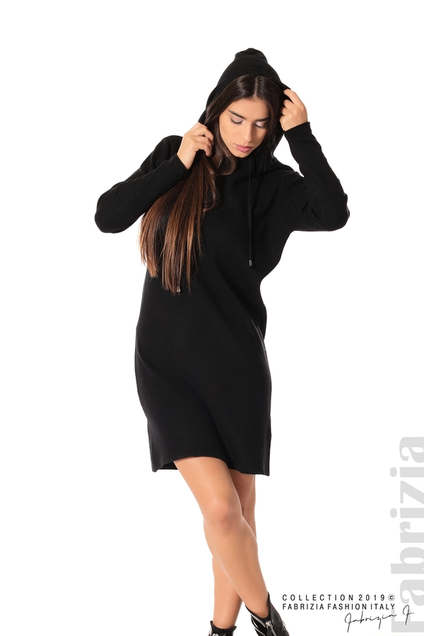 Дамска рокля от фино плетиво черен 1 fabrizia