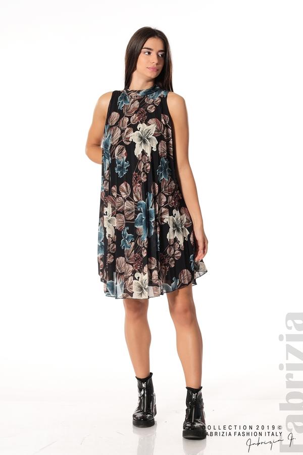 Дамска плисирана рокля на цветя черен 3 fabrizia