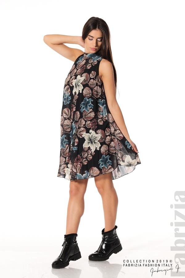 Дамска плисирана рокля на цветя черен 2 fabrizia