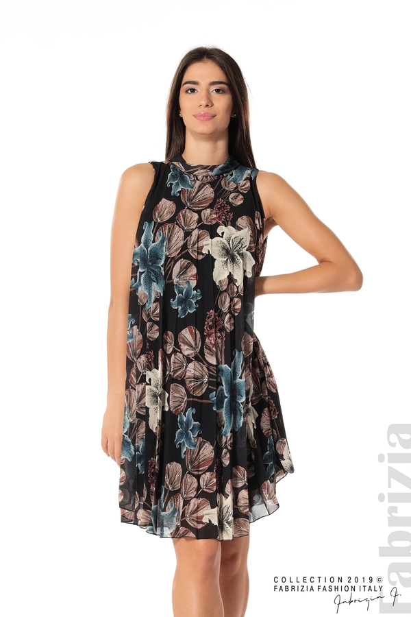 Дамска плисирана рокля на цветя черен 1 fabrizia